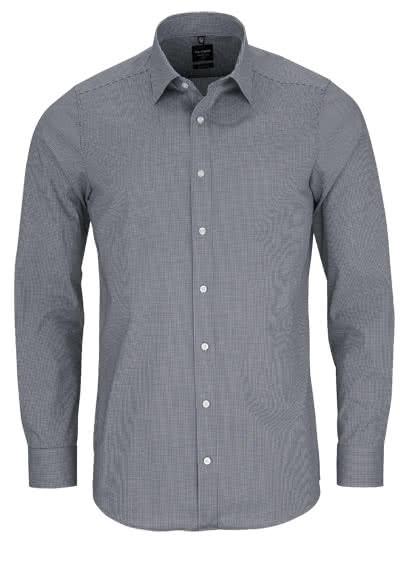 OLYMP Level Five body fit Hemd Langarm Vichy Karo schwarz - Hemden Meister