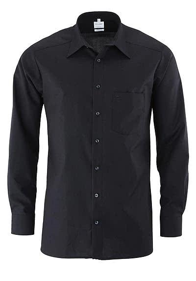 OLYMP Tendenz regular fit Hemd Langarm Popeline schwarz - Hemden Meister