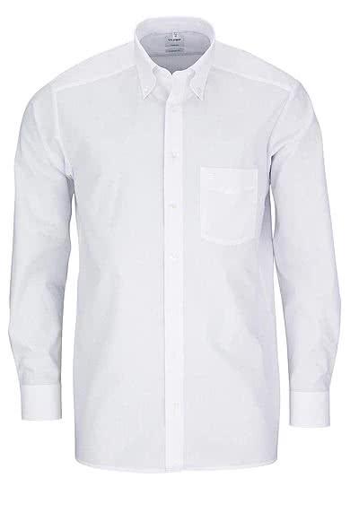 OLYMP Tendenz regular fit Langarm mit Button Down Kragen Popeline weiß - Hemden Meister