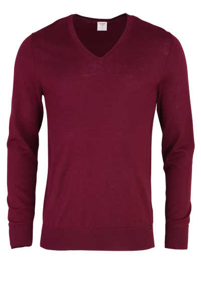 OLYMP Level Five Strick body fit Pullover V-Ausschnitt weinrot - Hemden Meister