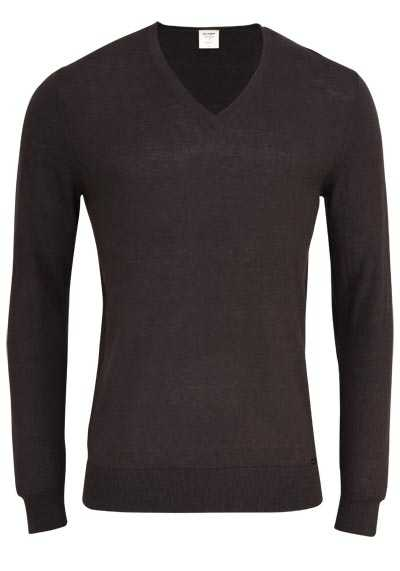 OLYMP Level Five Strick body fit Pullover V-Ausschnitt schwarzbraun - Hemden Meister