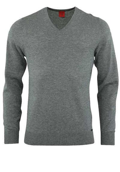 OLYMP Level Five Strick body fit Pullover V-Ausschnitt mittelgrau - Hemden Meister