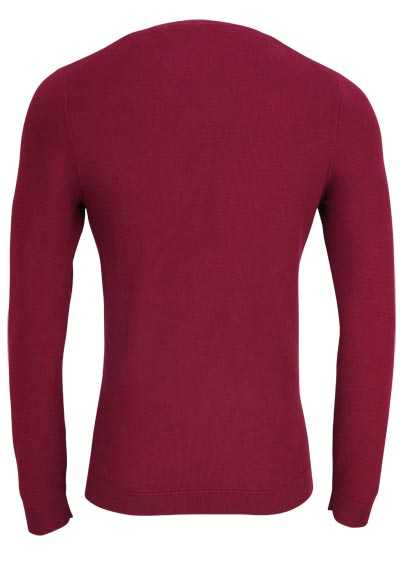 OLYMP Level Five Strick body fit Pullover Rundhals weinrot
