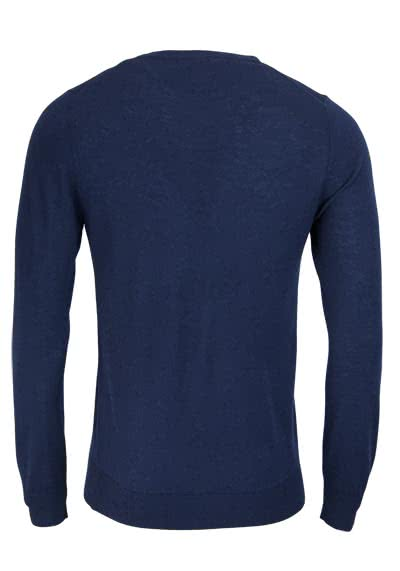 OLYMP Level Five Strick body fit Pullover Rundhals dunkelblau