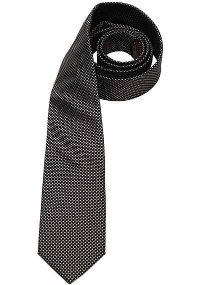 OLYMP Krawatte regular aus reiner Seide Nano-Effekt Struktur schwarz - Hemden Meister