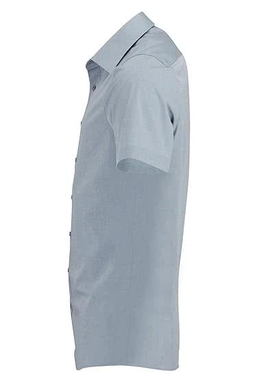 OLYMP Level Five body fit Hemd Halbarm Chambray silber