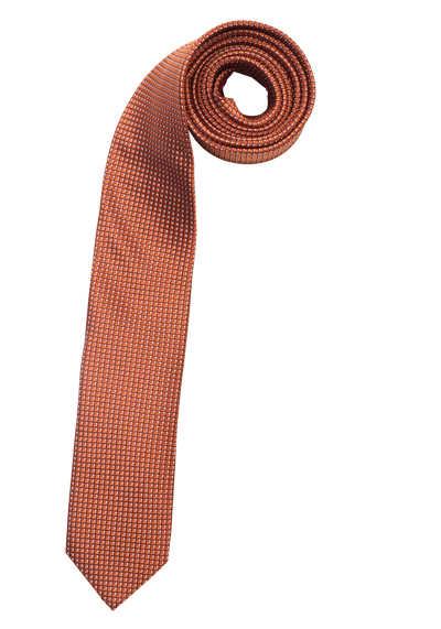 OLYMP Krawatte slim aus reiner Seide mit Nano-Effekt Muster lachs - Hemden Meister