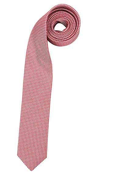 OLYMP Krawatte slim aus reiner Seide mit Nano-Effekt Muster chianti - Hemden Meister