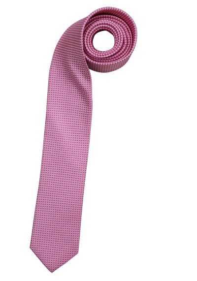 OLYMP Krawatte slim aus reiner Seide mit Nano-Effekt Muster rosa - Hemden Meister