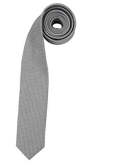 OLYMP Krawatte slim aus reiner Seide mit Nano-Effekt Muster anthrazit - Hemden Meister