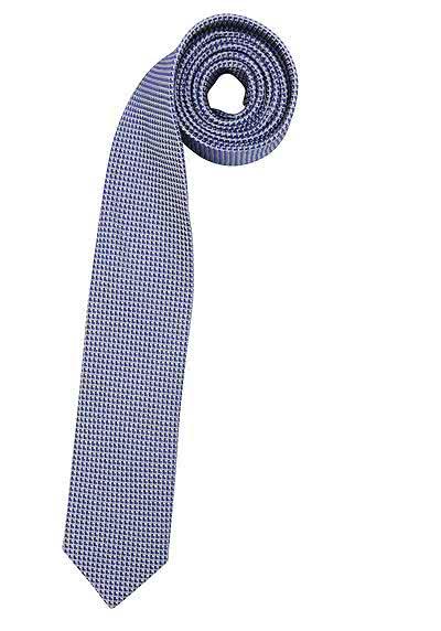 OLYMP Krawatte slim aus reiner Seide mit Nano-Effekt Muster dunkelblau - Hemden Meister