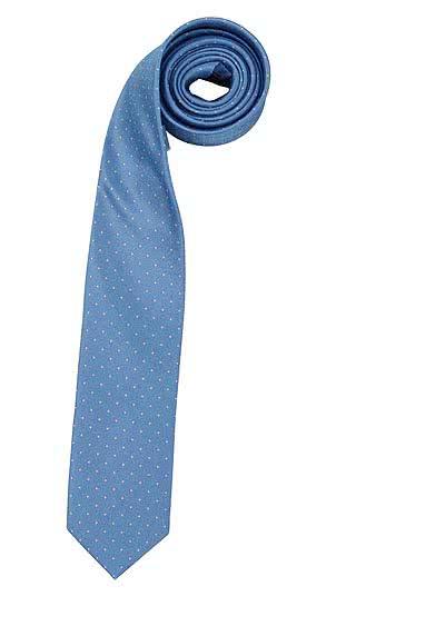 OLYMP Krawatte slim aus reiner Seide Nano-Effekt Muster hellblau - Hemden Meister
