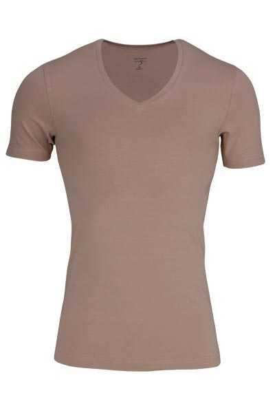 OLYMP T-Shirt Level Five body fit V-Ausschnitt beige - Hemden Meister