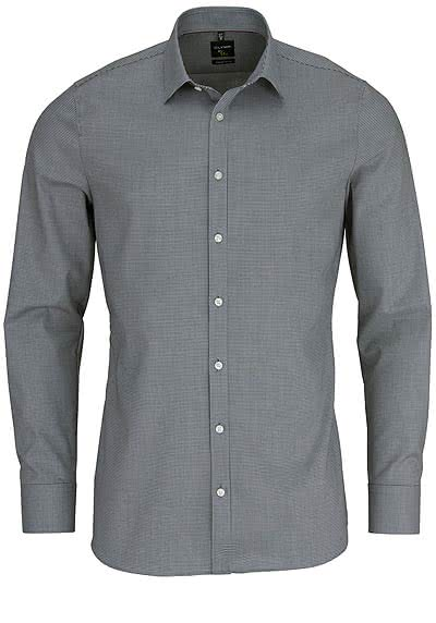 OLYMP No. Six super slim Hemd Langarm Muster schwarz - Hemden Meister