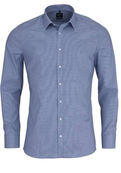 OLYMP No. Six super slim Hemd Langarm Muster dunkelblau - Hemden Meister