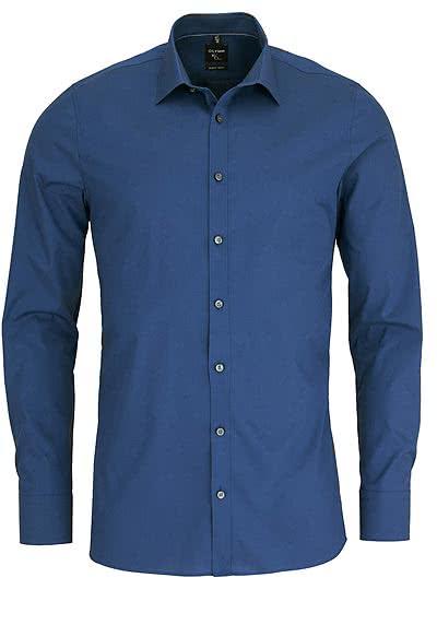 OLYMP No. Six super slim Hemd Langarm New Kent Kragen rauchblau - Hemden Meister