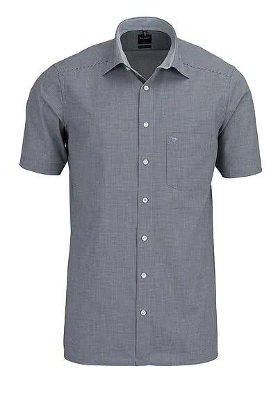 OLYMP Luxor modern fit Hemd Halbarm New Kent Kragen Karo schwarz - Hemden Meister