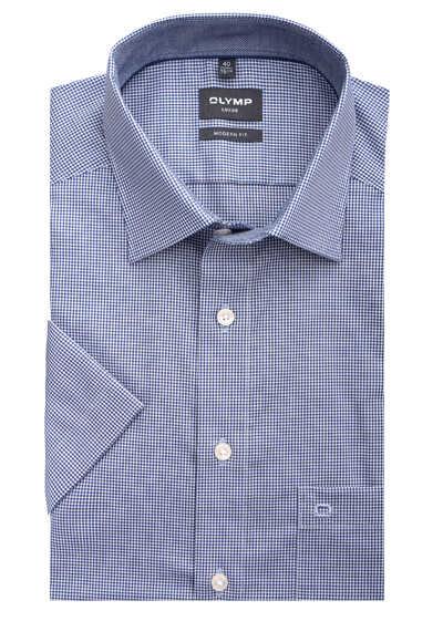 OLYMP Luxor modern fit Hemd Halbarm New Kent Kragen Karo dunkelblau - Hemden Meister
