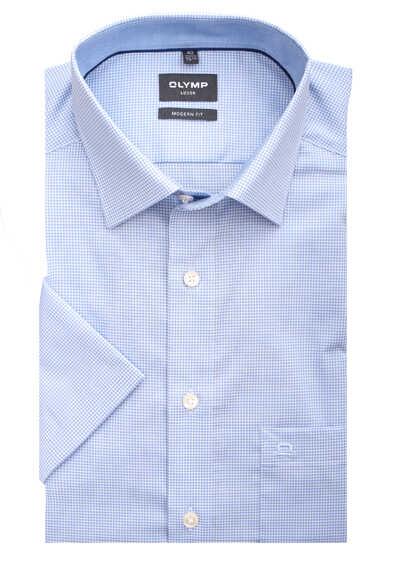 OLYMP Luxor modern fit Hemd Halbarm New Kent Kragen Karo hellblau - Hemden Meister