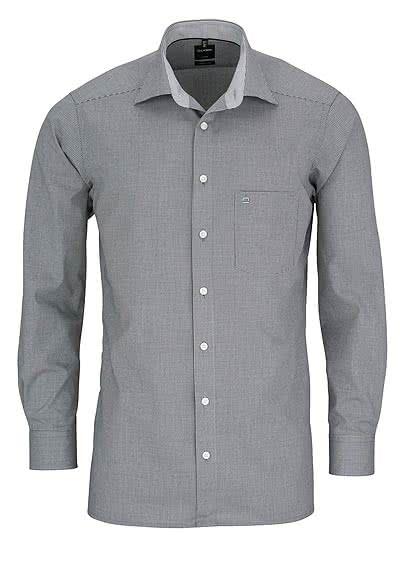 OLYMP Luxor modern fit Hemd Langarm mit New Kent Kragen Karo schwarz - Hemden Meister