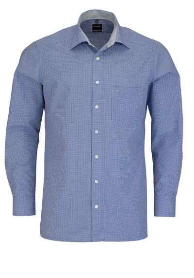 OLYMP Luxor modern fit Hemd Langarm New Kent Kragen Karo dunkelblau - Hemden Meister