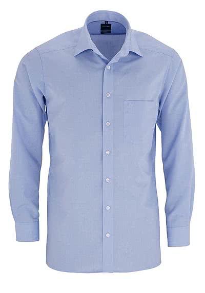 OLYMP Luxor modern fit Hemd Langarm mit New Kent Kragen Karo hellblau - Hemden Meister