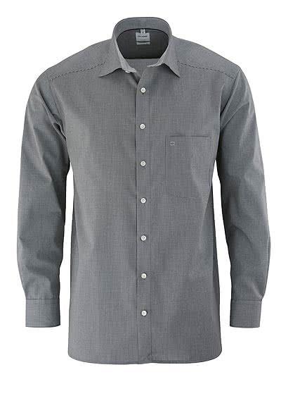 OLYMP Luxor comfort fit Hemd Langarm mit New Kent Kragen Karo schwarz - Hemden Meister