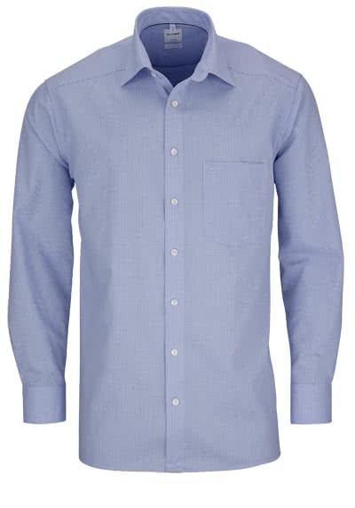 OLYMP Luxor comfort fit Hemd Langarm New Kent Kragen Karo hellblau - Hemden Meister
