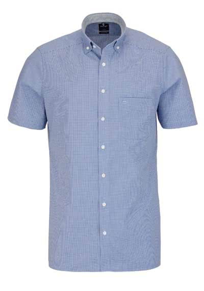 OLYMP Luxor modern fit Hemd Halbarm Button Down Kragen Karo blau - Hemden Meister
