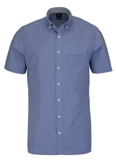 OLYMP Luxor modern fit Hemd Halbarm Button Down Kragen Karo hellblau - Hemden Meister