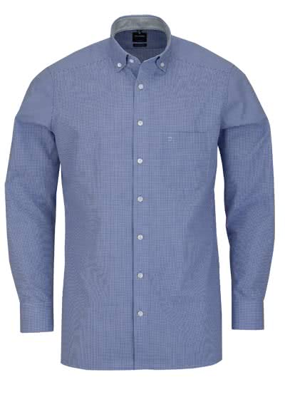 OLYMP Luxor modern fit Hemd Langarm Button Down Kragen Karo blau - Hemden Meister
