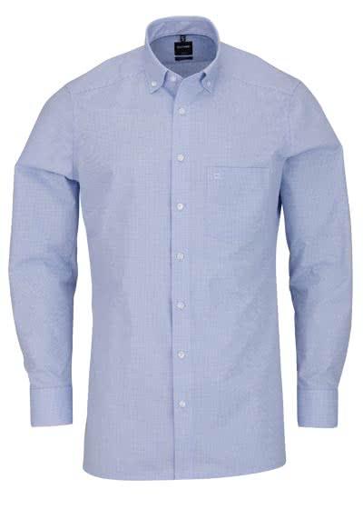 OLYMP Luxor modern fit Hemd Langarm Button Down Kragen Karo hellblau - Hemden Meister
