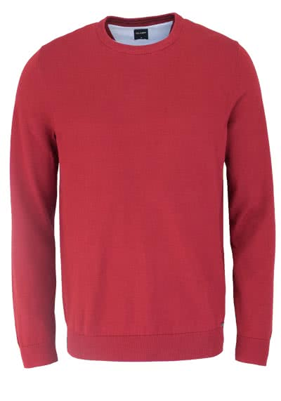 OLYMP Strick Pullover Rundhals extrafeine Baumwolle dunkelrot - Hemden Meister