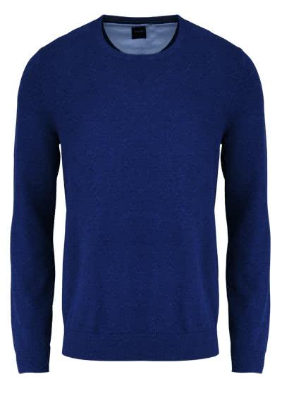 OLYMP Strick Pullover Rundhals extrafeine Baumwolle dunkelblau - Hemden Meister