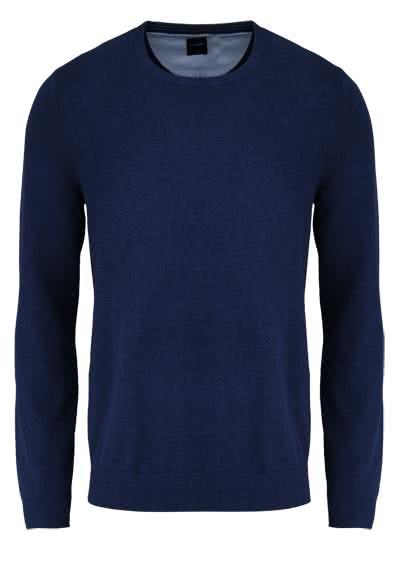 OLYMP Strick Pullover Rundhals extrafeine Baumwolle nachtblau - Hemden Meister
