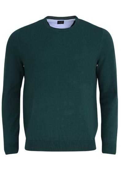 OLYMP Strick Pullover Rundhals extrafeine Baumwolle dunkelgrün - Hemden Meister