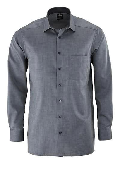 OLYMP Luxor modern fit Hemd Langarm Struktur schwarz - Hemden Meister