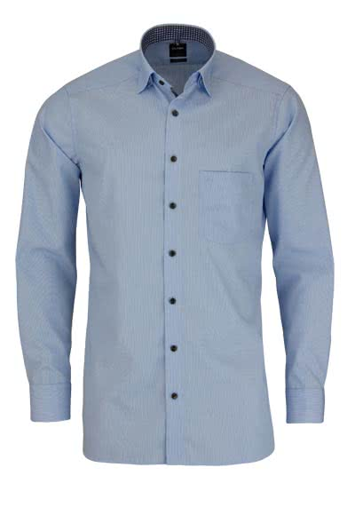 OLYMP Luxor modern fit Hemd Langarm mit Patch Streifen hellblau - Hemden Meister