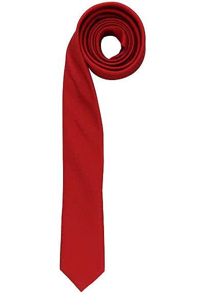 OLYMP Krawatte super slim aus reiner Seide mit Nano-Effekt mittelrot - Hemden Meister