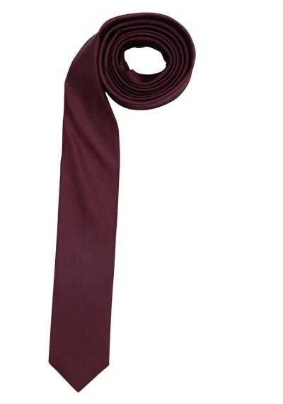 OLYMP Krawatte super slim aus reiner Seide mit Nano-Effekt weinrot - Hemden Meister
