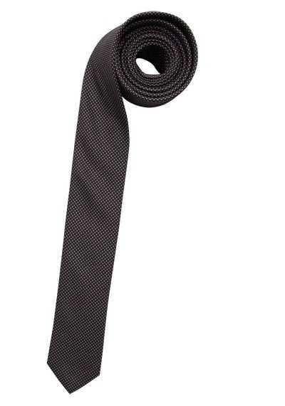 OLYMP Krawatte super slim aus reiner Seide Nano-Effekt Punkte braun - Hemden Meister