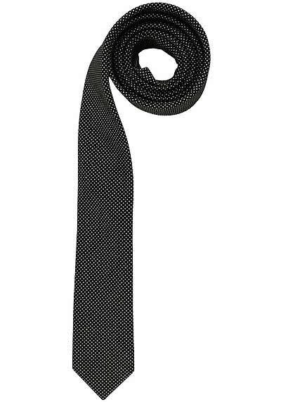 OLYMP Krawatte super slim aus reiner Seide Nano-Effekt Punkte schwarz - Hemden Meister