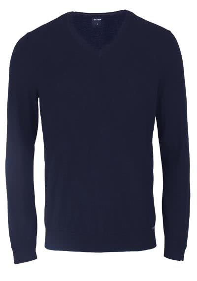 OLYMP Langarm Strick Pullover mit V-Ausschnitt nachtblau - Hemden Meister