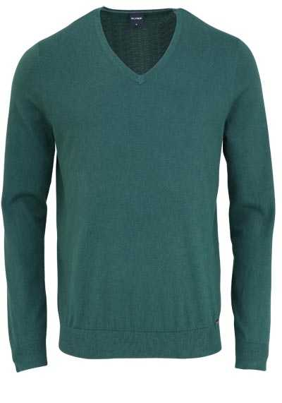 OLYMP Langarm Strick Pullover mit V-Ausschnitt dunkelgrün - Hemden Meister