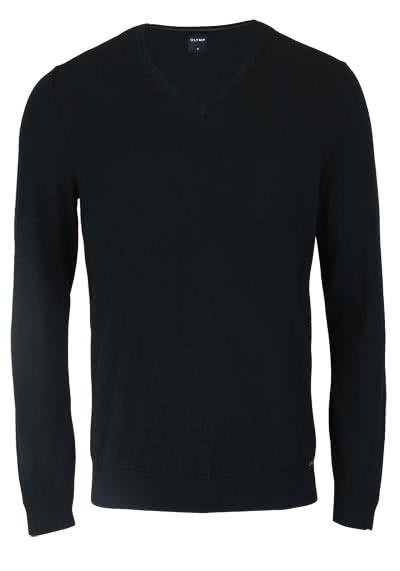 OLYMP Langarm Strick Pullover mit V-Ausschnitt schwarz - Hemden Meister