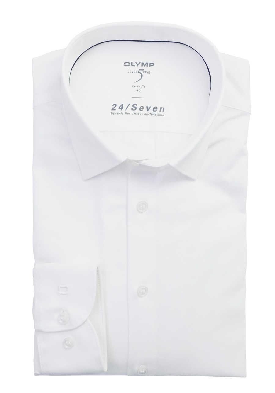 OLYMP Level Five body fit Hemd 24 / Seven Langarm Jersey Stretch weiß