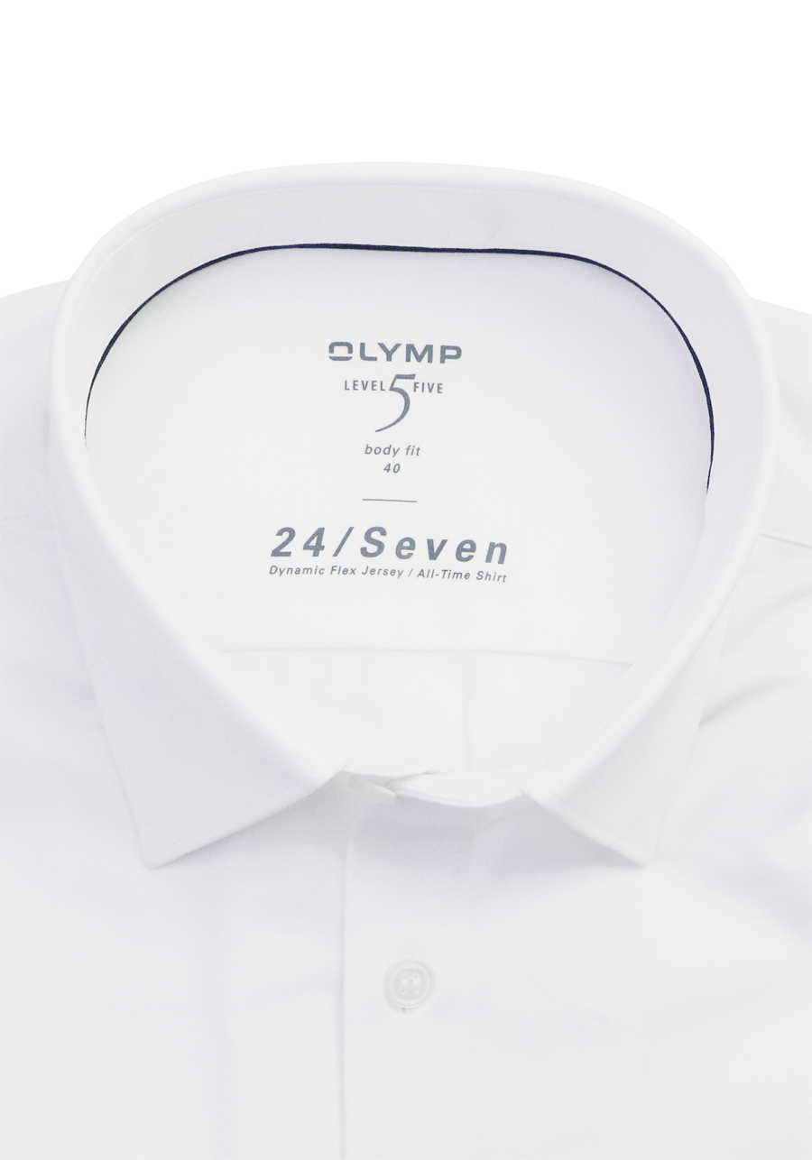 OLYMP Level Five body fit Hemd 24 / Seven Langarm Jersey Stretch weiß