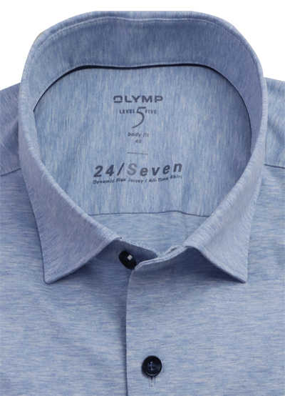 OLYMP Level Five body fit Hemd 24 / Seven Langarm Jersey Stretch hellblau
