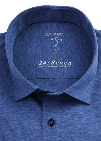 OLYMP Level Five body fit Hemd 24 / Seven Langarm Jersey Stretch blau
