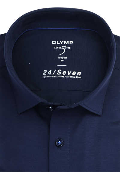 OLYMP Level Five body fit Hemd 24 / Seven extra langer Arm Jersey Stretch blau